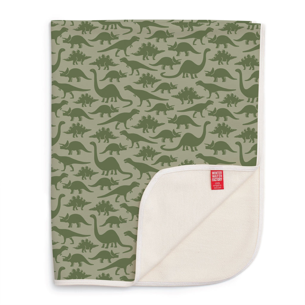 French Terry Blanket - Dinosaurs Sage