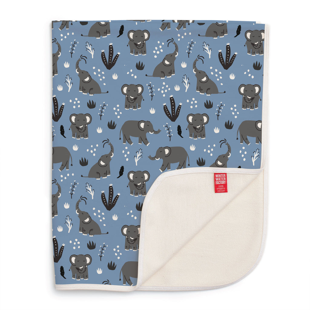 French Terry Blanket - Elephants Blue