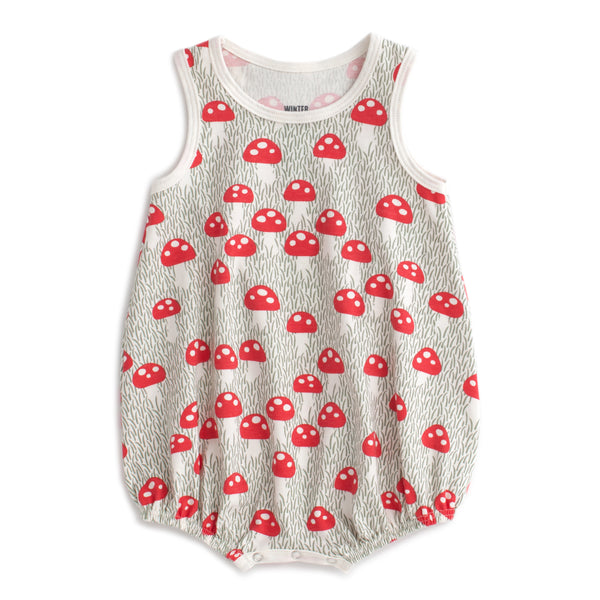 Bubble Romper - Mushrooms Sage