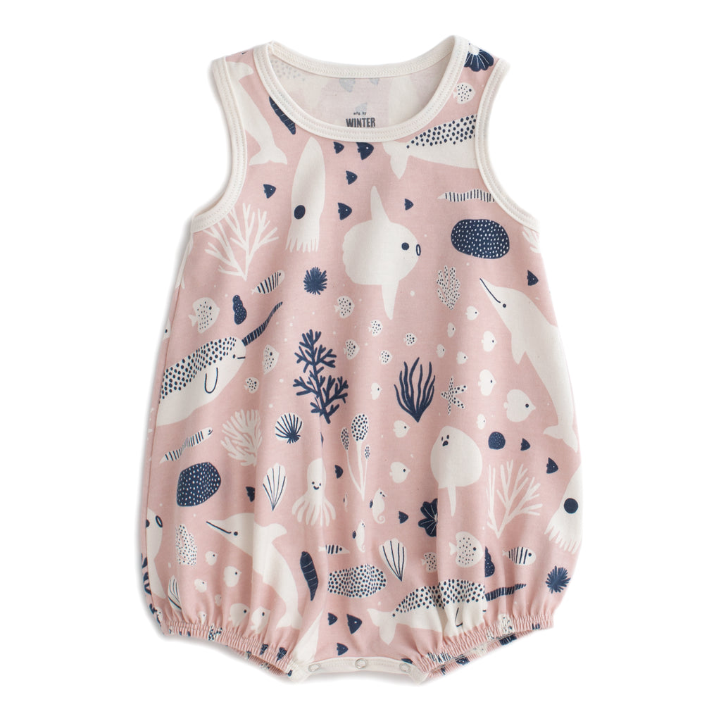 Bubble Romper - Sea Creatures Blush Pink & Navy