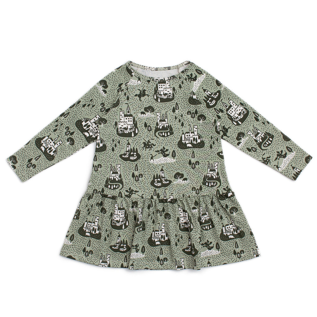 Chicago Dress - Castles & Villages Sage & Forest Green