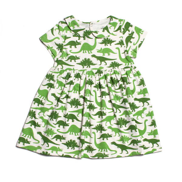 Chelsea Dress - Dinosaurs Green