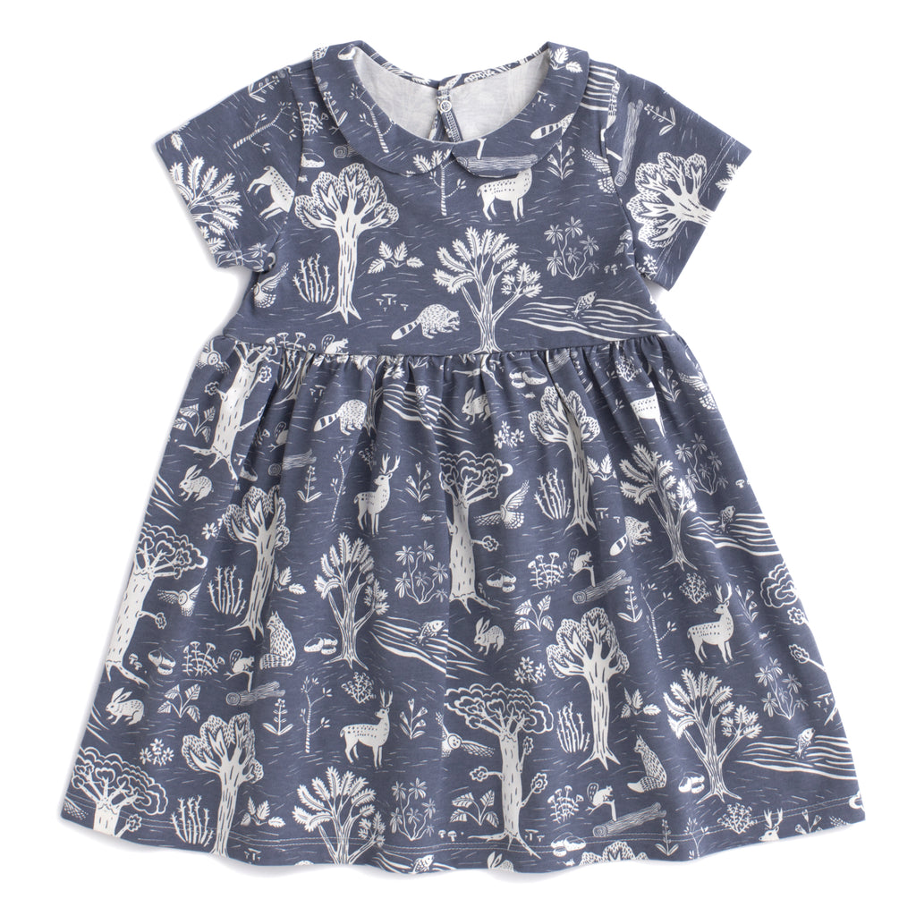 Chelsea Dress - In the Forest Slate Blue