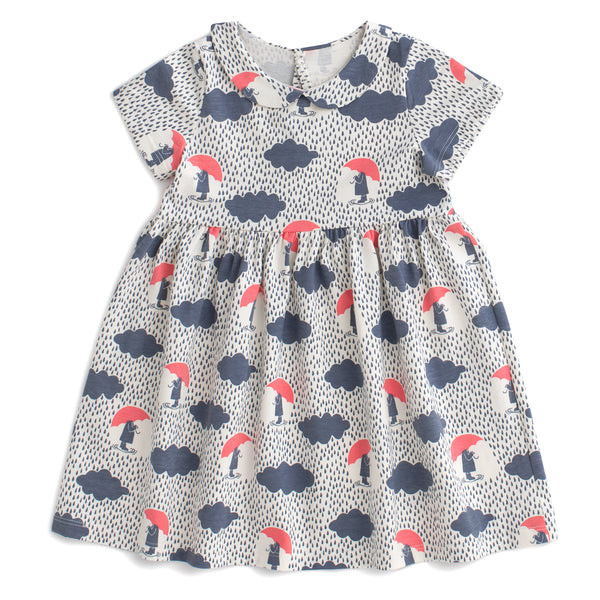 Chelsea Dress - Summer Rain Slate Blue & Coral