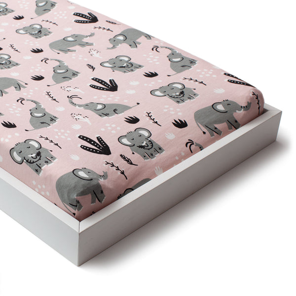 Changing Pad Cover - Elephants Pink