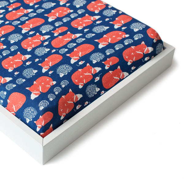 Changing Pad Cover - Foxes Navy & Orange