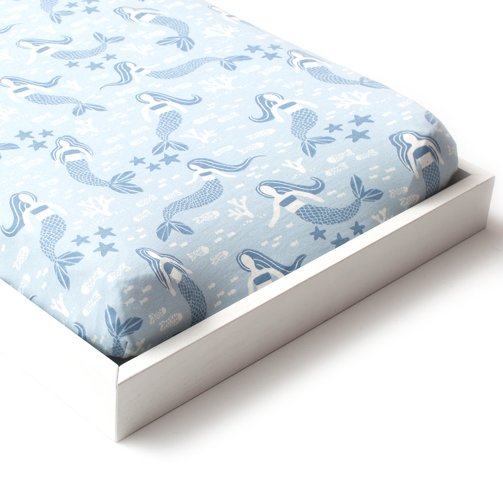 Changing Pad Cover - Mermaids Blue