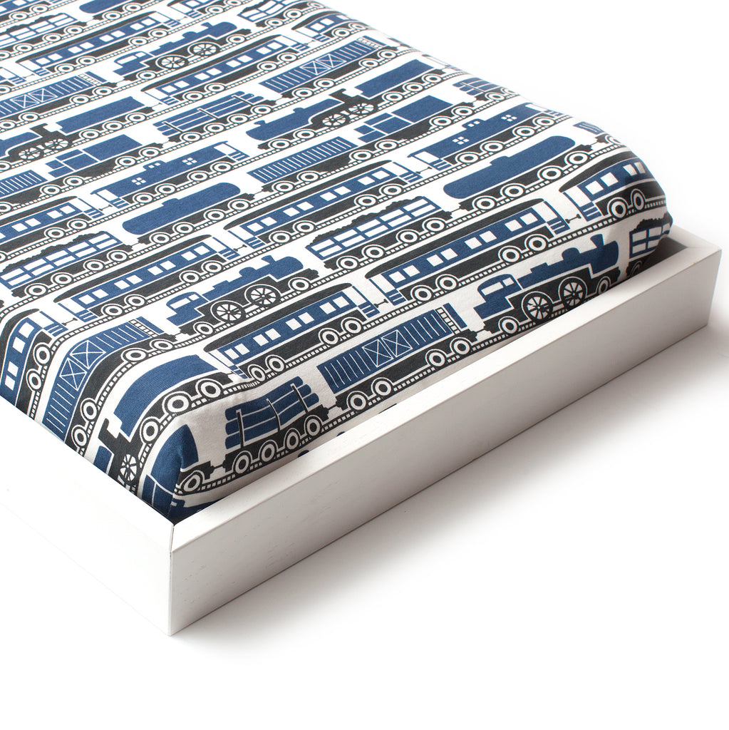 Changing Pad Cover - Trains Navy