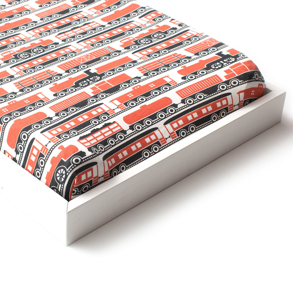 Changing Pad Cover - Trains Orange