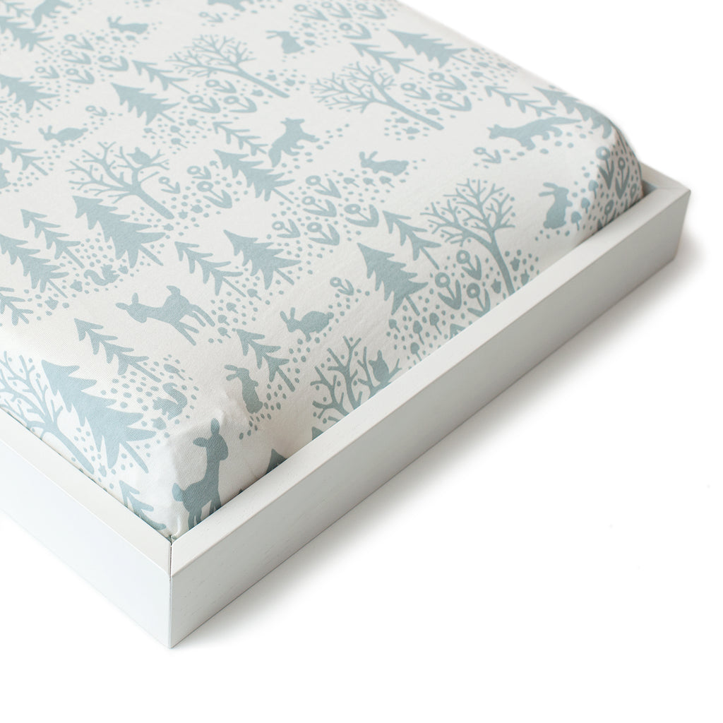 Changing Pad Cover - Winter Scenic Pale Blue