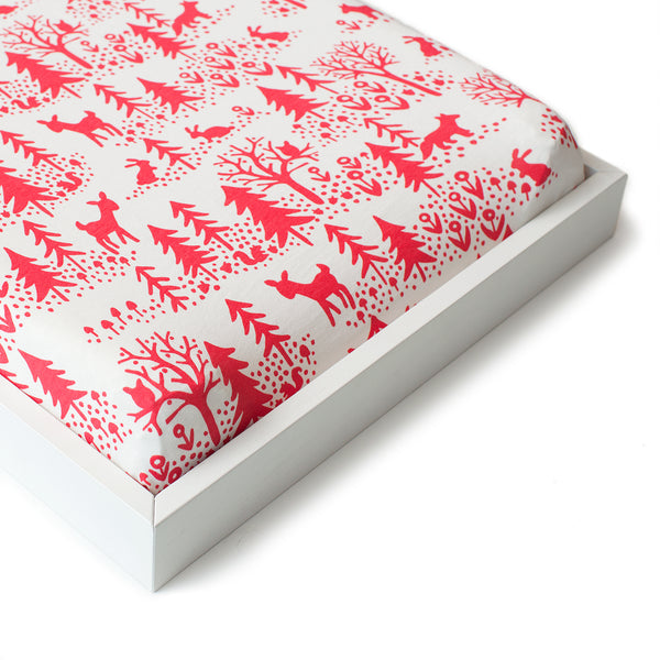Changing Pad Cover - Winter Scenic Red