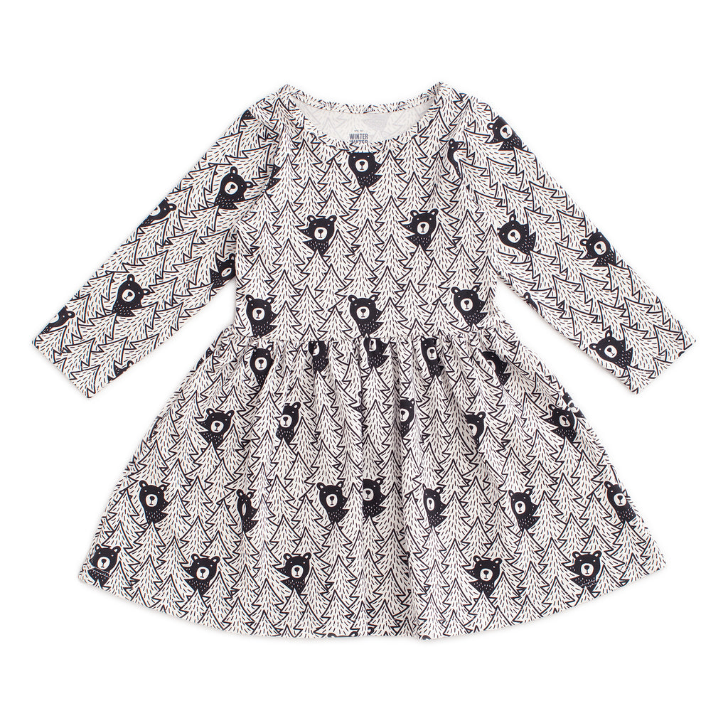 Calgary Dress - Bears Black