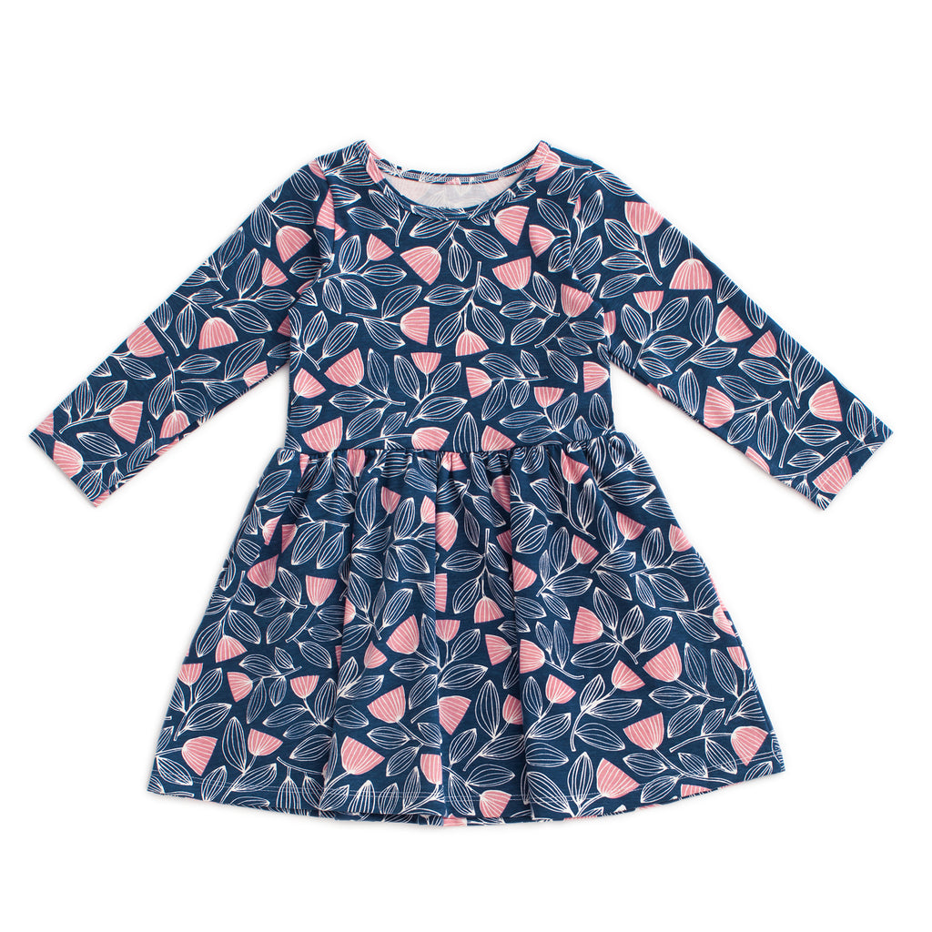 Calgary Dress - Holland Floral Midnight Blue & Dusty Pink