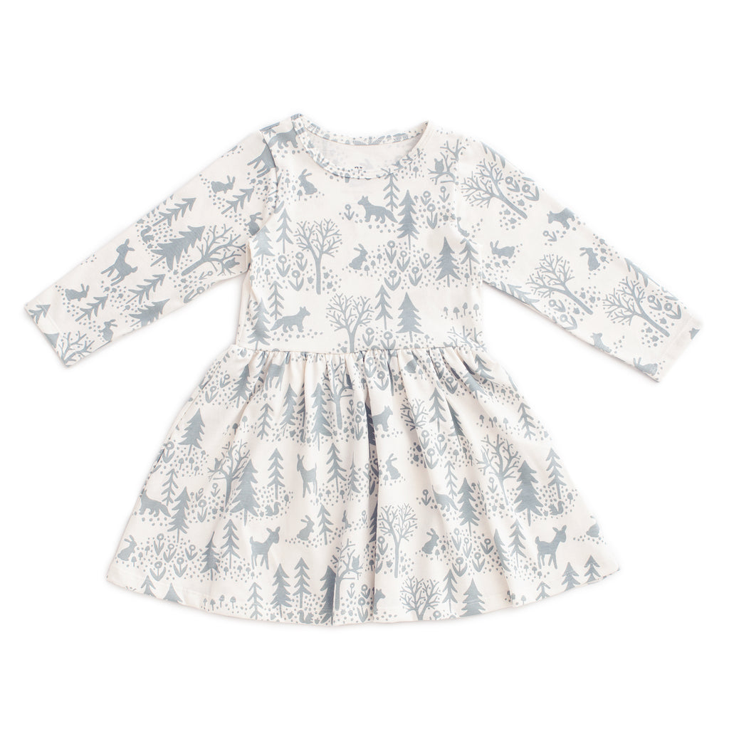 Calgary Dress - Winter Scenic Pale Blue
