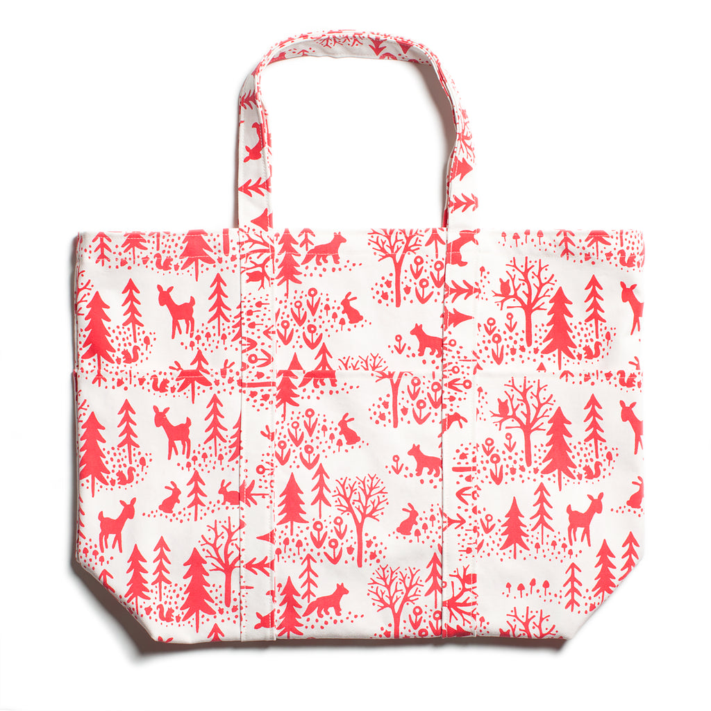 Large Canvas Tote - Winter Scenic Red