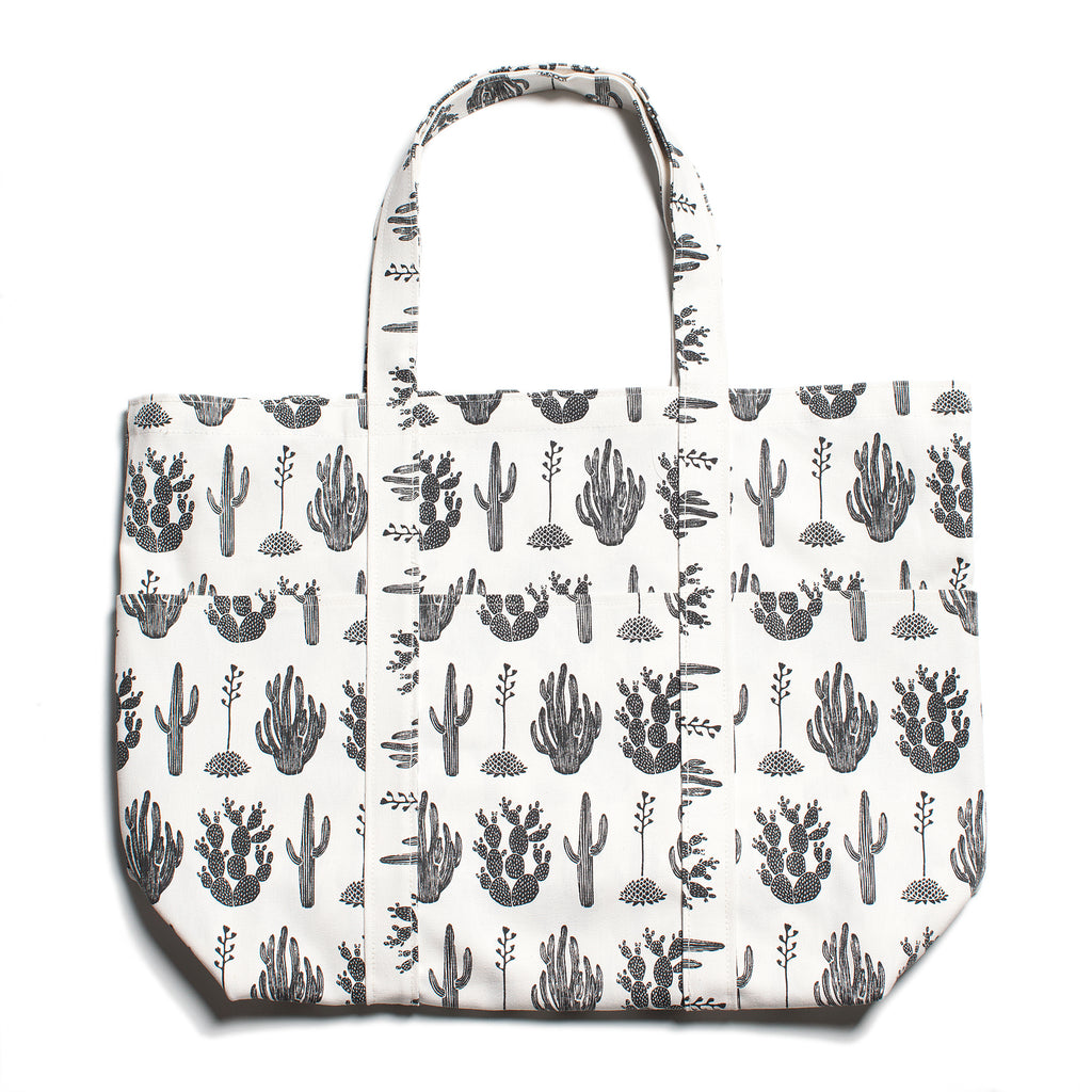 Large Canvas Tote - Cactus Black