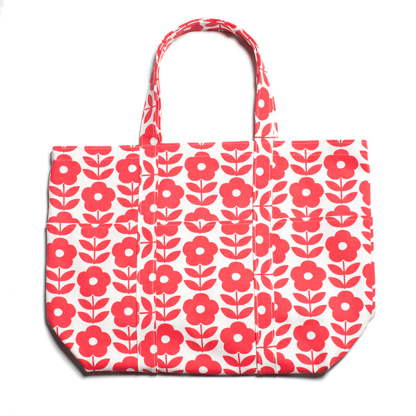Large Canvas Tote - Danish Flower Red