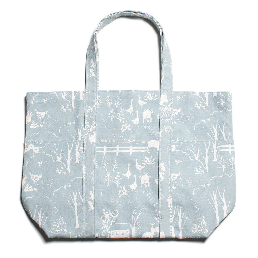 Large Canvas Tote - The Farm Next Door Pale Blue