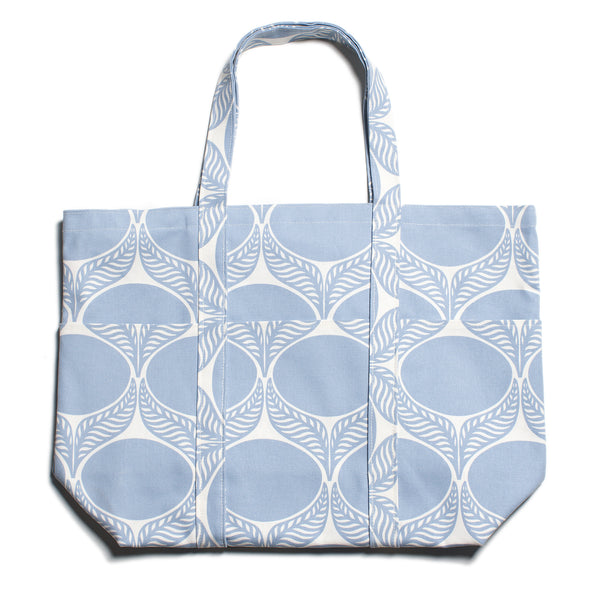 Large Canvas Tote - June Leaf Pale Blue