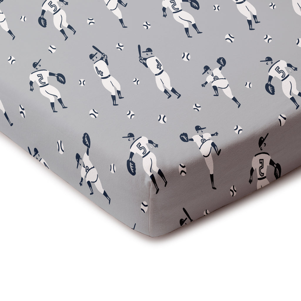 Fitted Crib Sheet - Baseball Grey & Midnight Blue
