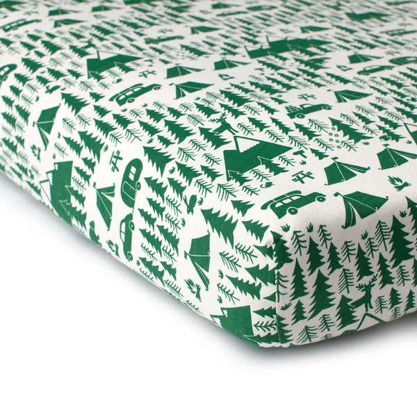 Fitted Crib Sheet - Campground Green