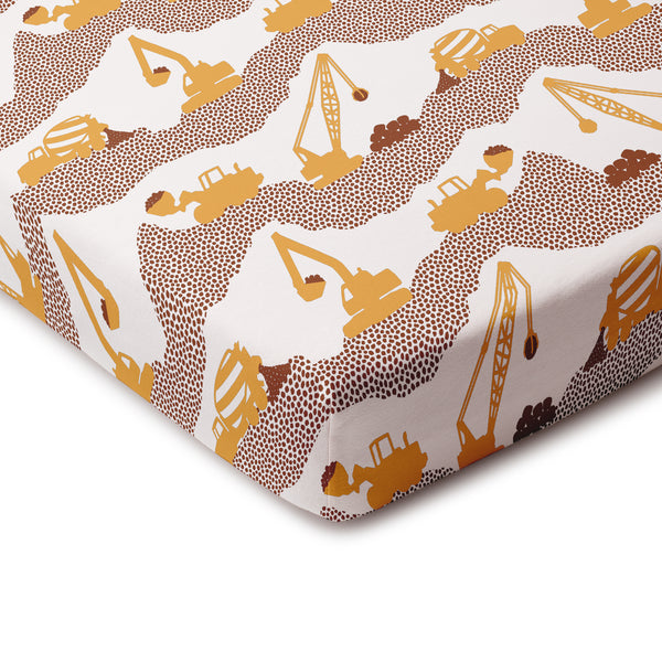 Fitted Crib Sheet - Construction Yellow & Chestnut