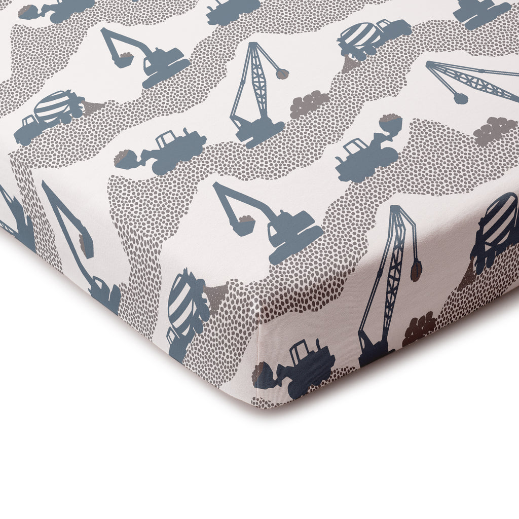 Fitted Crib Sheet - Construction Slate Blue & Grey
