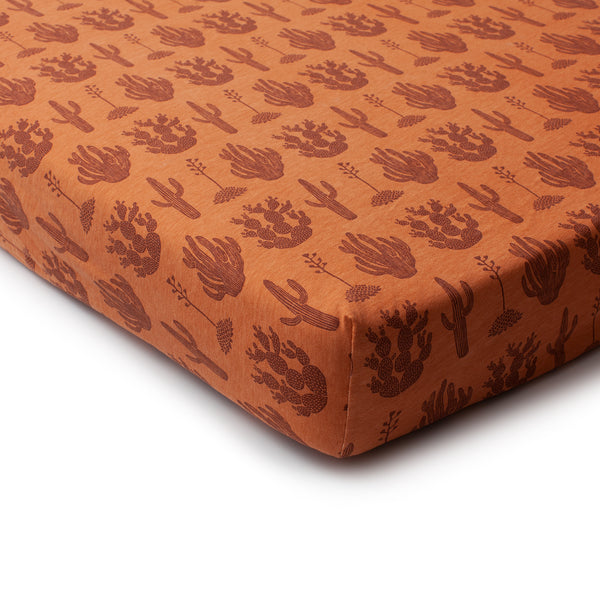 Fitted Crib Sheet - Cactus Caramel