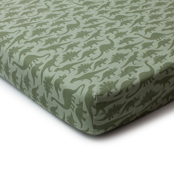 Fitted Crib Sheet - Dinosaurs Sage