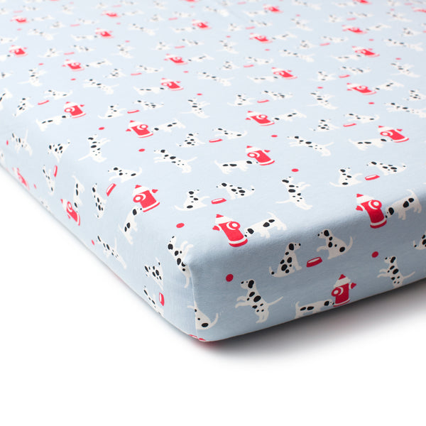 Fitted Crib Sheet - Dalmatians Blue