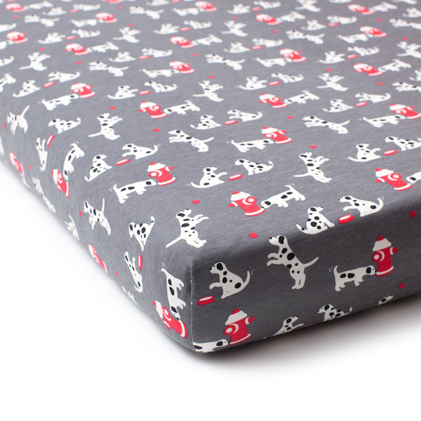 Fitted Crib Sheet - Dalmatians Charcoal