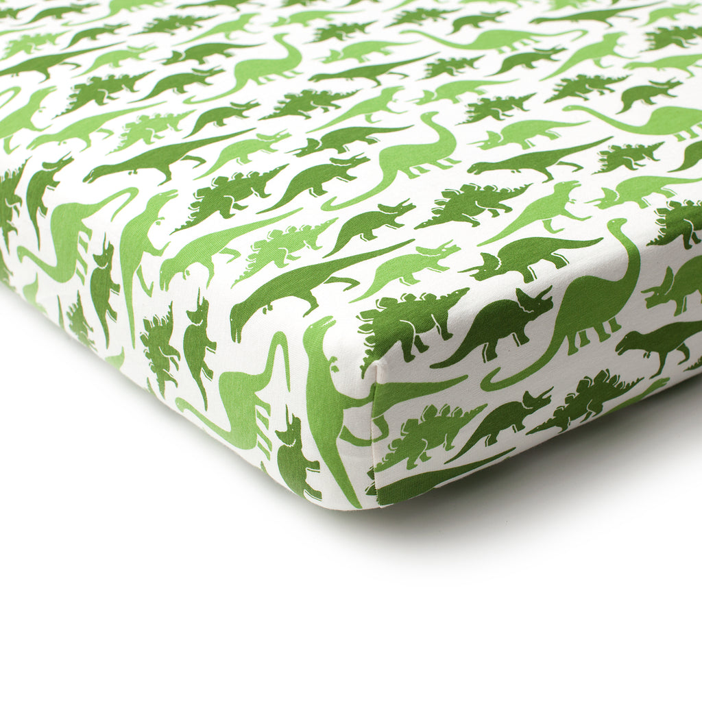 Fitted Crib Sheet - Dinosaurs Green