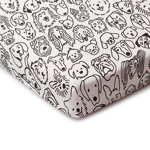 Fitted Crib Sheet - Dogs Black