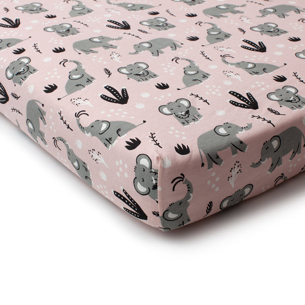 Fitted Crib Sheet - Elephants Pink