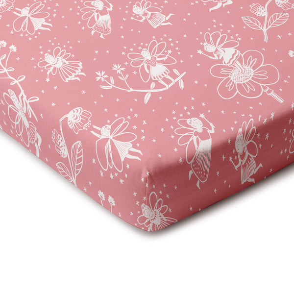 Fitted Crib Sheet - Fairies Dusty Pink
