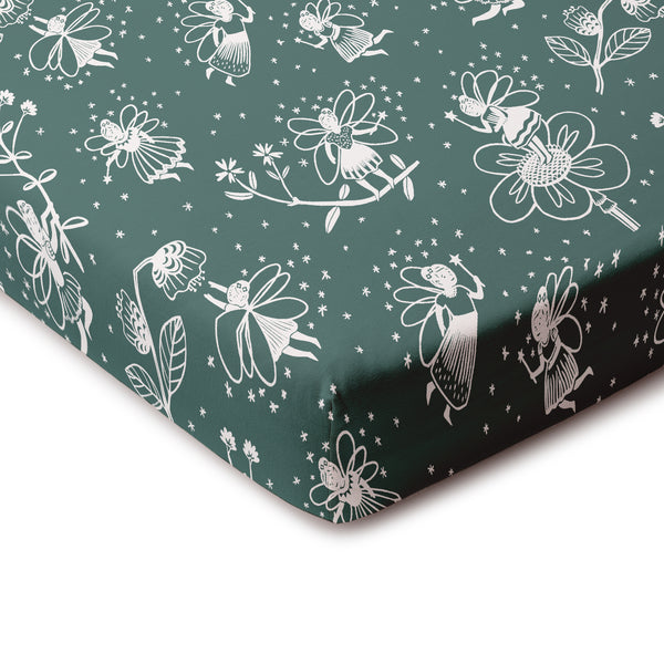 Fitted Crib Sheet - Fairies Teal
