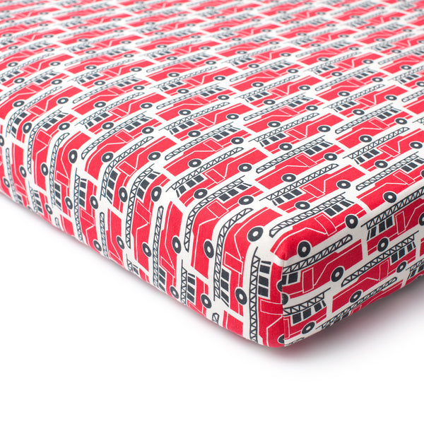 Fitted Crib Sheet - Firetrucks Red