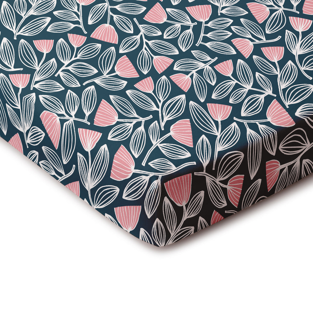 Fitted Crib Sheet - Holland Floral Midnight Blue & Dusty Pink