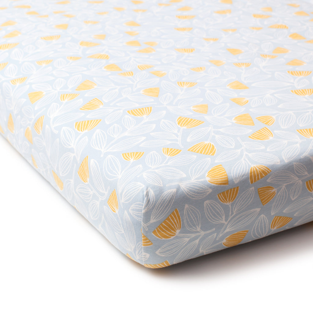 Fitted Crib Sheet - Holland Floral Blue & Yellow