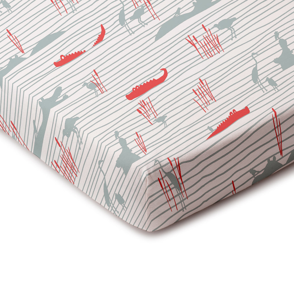 Fitted Crib Sheet - Hippos & Crocodiles Ocean Blue & Coral