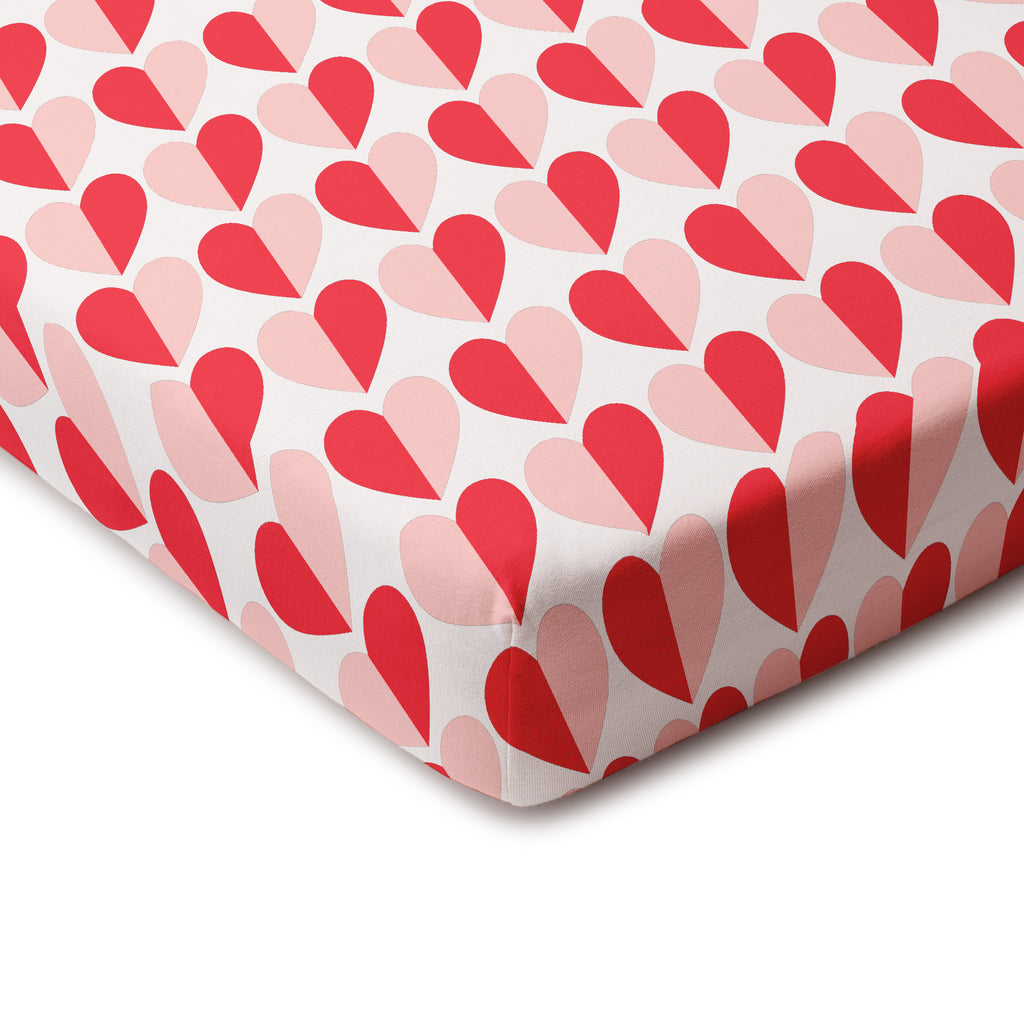 Fitted Crib Sheet - Hearts Red & Pink