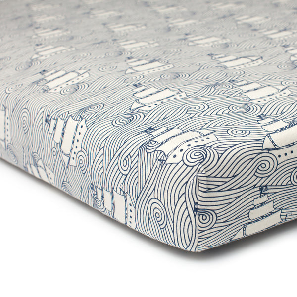 Fitted Crib Sheet - High Seas Navy
