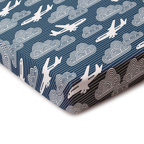 Fitted Crib Sheet - In The Clouds Navy