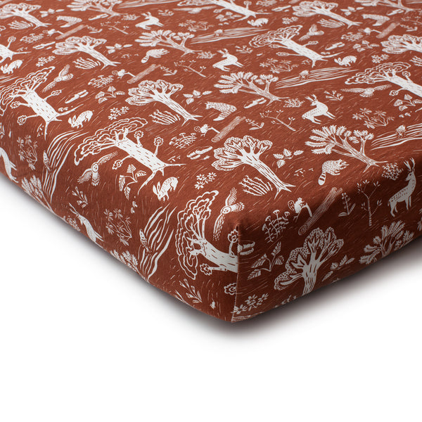 Fitted Crib Sheet - In the Forest Chestnut