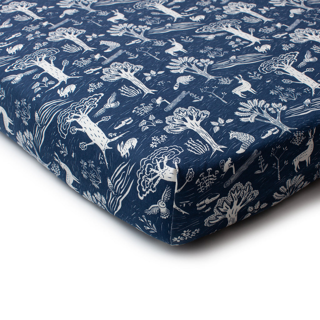 Fitted Crib Sheet - In the Forest Navy