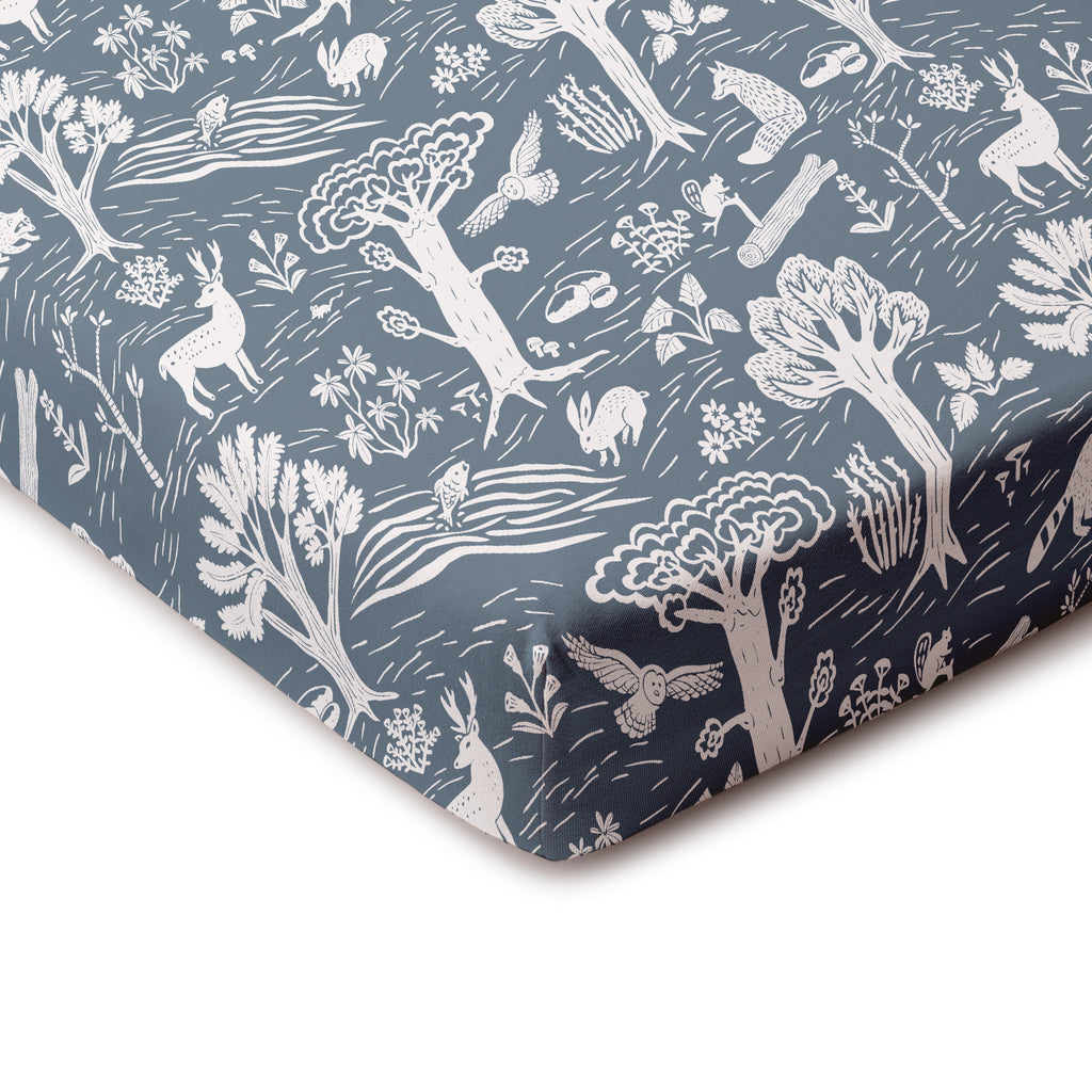 Fitted Crib Sheet - In the Forest Slate Blue