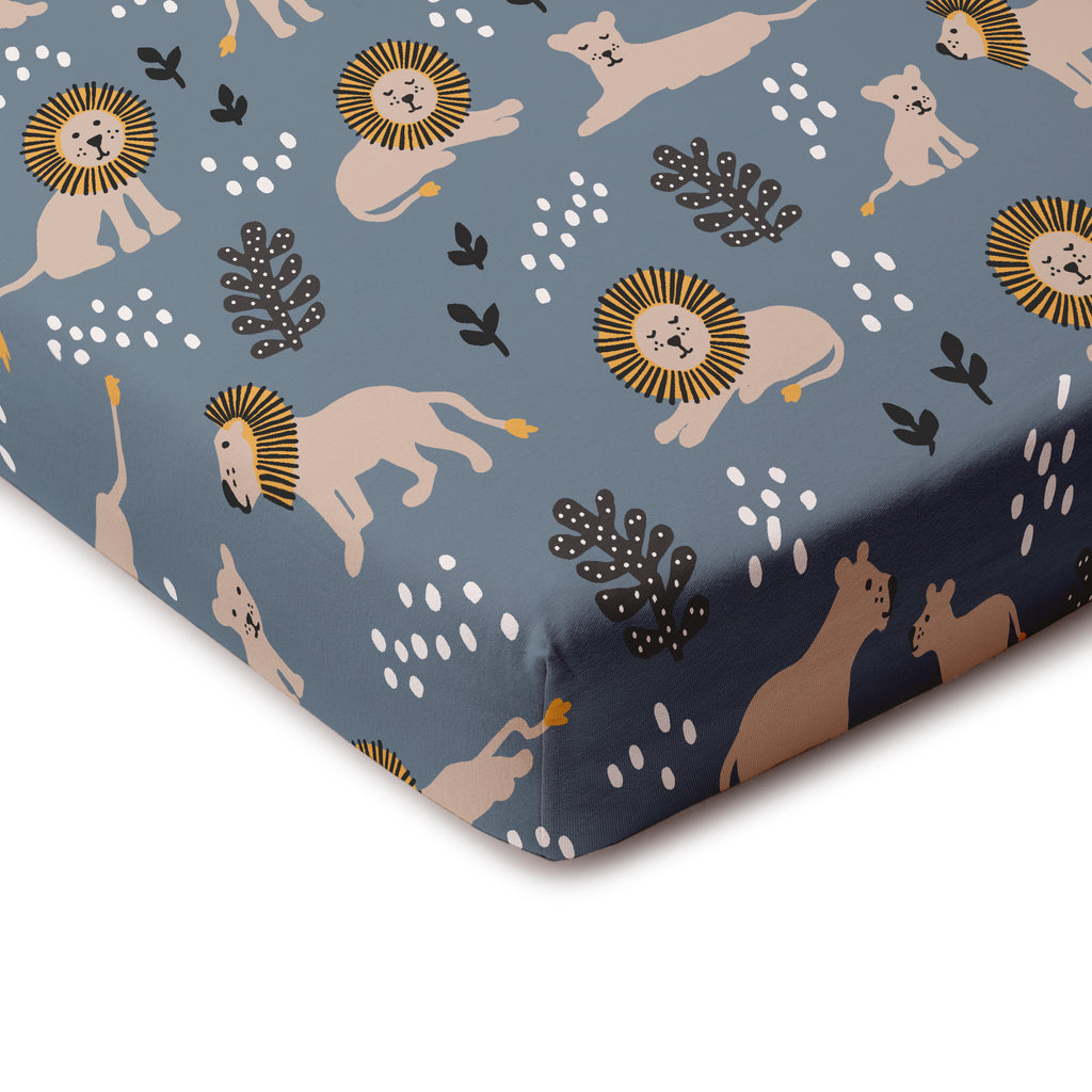 Fitted Crib Sheet - Lions Slate Blue
