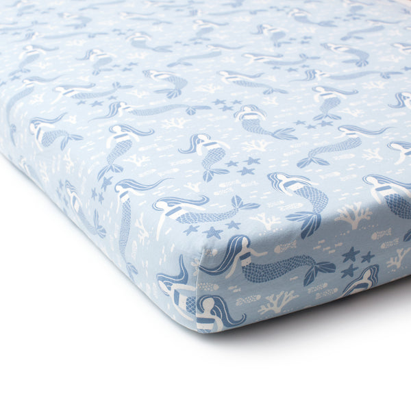 Fitted Crib Sheet - Mermaids Blue