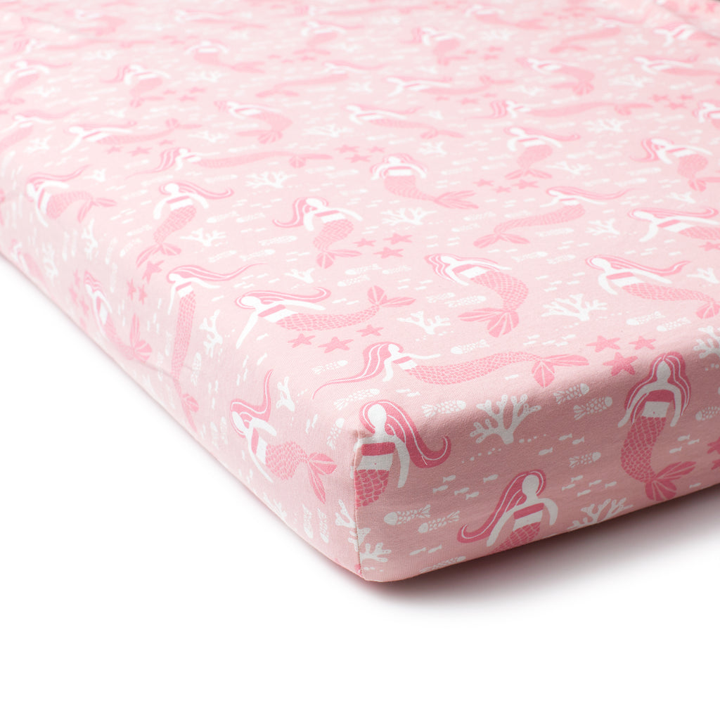 Fitted Crib Sheet - Mermaids Pink