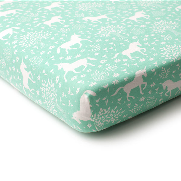 Fitted Crib Sheet - Magical Forest Mint